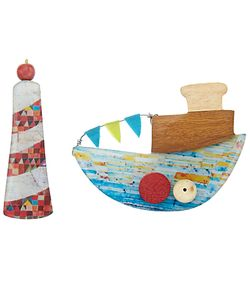 One Button | Lighthouse And Fishing Boat Resin Brooch Multi