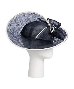 John Lewis | Milly Swirl Disc Bow Detail Occasion Hat Navy/Ivory