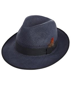 Christys' | Christys Notting Hill Snap Brim Panama Hat Navy