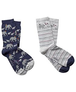 Fat Face | Elephant Print Ankle Socks Pack Of 2 Navy/