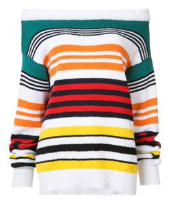 Rosie Assoulin | Long Sleeve Striped Off-The-Shoulder Sweater