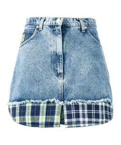 Natasha Zinko | Check Print Trimmed Denim Mini Skirt