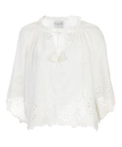 Sea | Flutter Sleeve Perforated Top