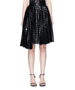 Jourden | Asymmetric Pleated Gel Stripe Fil Coupé Skirt