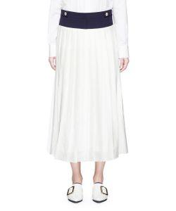 Victoria, Victoria Beckham | Contrast Waistband Pleated Midi Skirt
