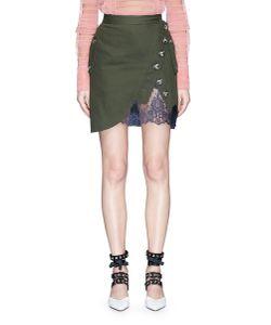 Self-Portrait | Asymmetric Button Lace Underlay Twill Utility Skirt