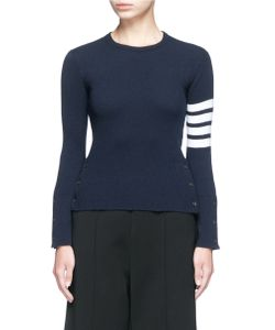 Thom Browne   Stripe Sleeve Button Cashmere Sweater