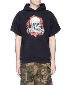 Unravel | Skull Print Distressed Short Sleeve Hoodie
