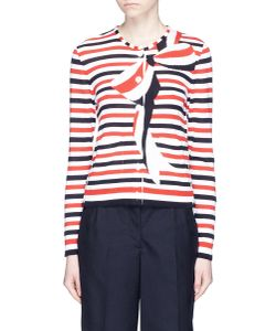 Thom Browne | Trompe-Ail Bow Stripe Cotton Crepe Cardigan
