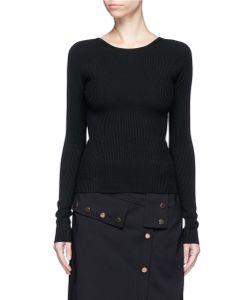 Tibi | Lace-Up Scoop Back Rib Knit Sweater