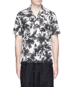 Attachment | Palm Tree Print Drawstring Hem Bowling Shirt