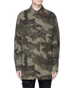 Faith Connexion   Camouflage Print Distressed Cotton Coat
