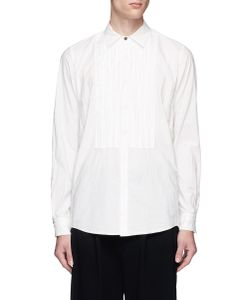 The Viridi-Anne | Frayed Pinstripe Bib Cotton Poplin Shirt
