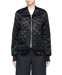 MS MIN | Quilted Satin Bomber Jacket
