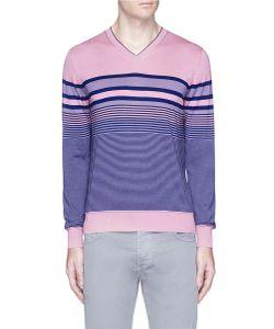 Isaia | Scollo Stripe Silk-Cotton Sweater