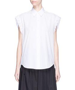 Tome | Lace-Up Back Ruffle Poplin Shirt