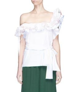 Rosie Assoulin | Bearded Iris Rainbow Trim Belted Ruffle One-Shoulder Top
