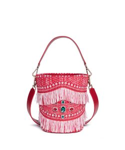 Angel Chen | Jewelled Tassel Fringe Raffia Bucket Bag