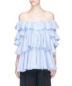 Tome | Ruffle Stripe Poplin Off-Shoulder Blouse
