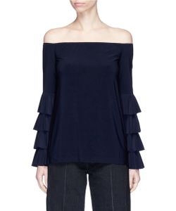 Norma Kamali | Ruffle Off-Shoulder Jersey Top