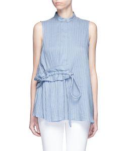 Victoria, Victoria Beckham | Gathe Drawstring Pinstripe Sleeveless Shirt