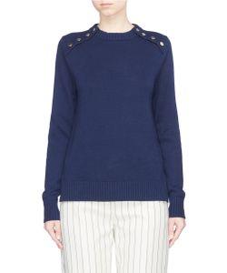 Victoria, Victoria Beckham | Button Shoulder Cotton Sweater