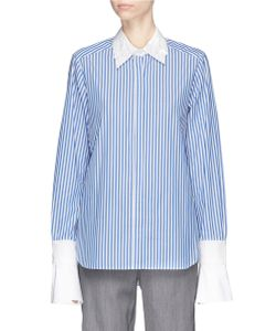 Muveil | Detachable Embellished Collar And Cuff Stripe Shirt