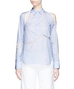 3.1 Phillip Lim | Victoriana Crest Embroidered Cutout Poplin Blouse