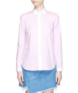 Sandy Liang | Enzo Ruffled Open Back Stripe Shirt