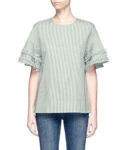 Victoria, Victoria Beckham | Ruffle Trim Sleeve Stripe Boxy Top