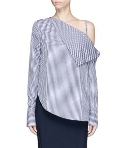Dion Lee | Axis Gingham Check One-Shoulder Top