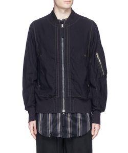 Ziggy Chen | Graphic Stripe Print Panel Reversible Bomber Jacket