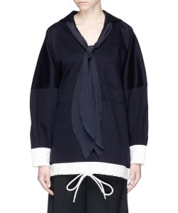 Chloé | Silk Scarf Sailor Collar Oversized Sweatshirt