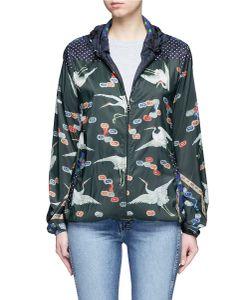 Pierre-Louis Mascia | Mixed Crane Print Hooded Windbreaker Jacket