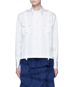 Angel Chen | Pleated Hem Grosgrain Ribbon Utility Shirt