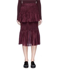 MS MIN | Tie Plissé Pleat Sheer Silk Skirt