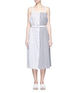 Victoria, Victoria Beckham | Contrast Stripe Belted Poplin Dress