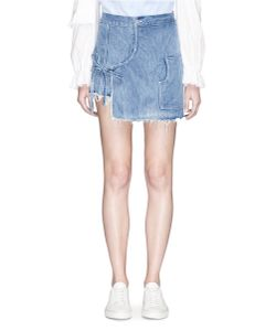Sandy Liang | Storey Mock Wrap Frayed Denim Skort