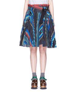 Sacai   Mexican Stripe Print Plissé Pleat Wrap Skirt