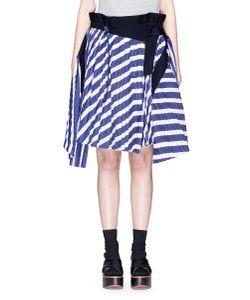 Sacai   Stripe Print Plissé Pleat Asymmetric Wrap Skirt