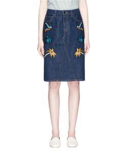 Victoria, Victoria Beckham | Okinawa Motif Embroidered Cross Front Denim Skirt