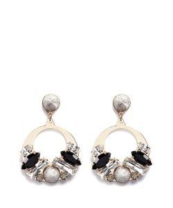 Anton Heunis | Vintage Stone Stud Swarovski Crystal Hoop Earrings