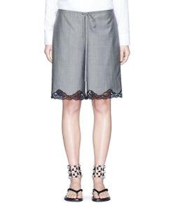 Alexander Wang | Bloomer Lace Hem Wool-Mohair Shorts
