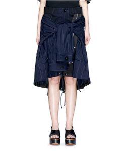 Sacai | Stripe Zip Jacket Overlay Twill Skirt
