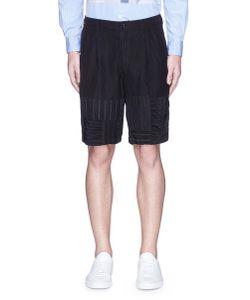 Comme Des Garçons Homme Plus   Stripe Patchwork Wool-Linen Shorts