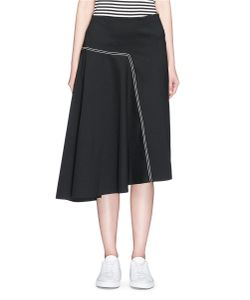 Bassike | Contrast Topstitched Bonded Jersey Asymmetric Skirt