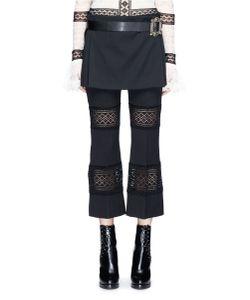 Alexander McQueen | Jewelled Buckle Leather Belt Virgin Wool Skirt