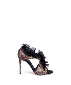 Rene Caovilla | Strass Embellished Ruffle Lace Sandals