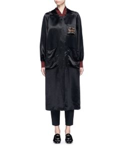 MS MIN | Dragon Embroide Hooded Long Satin Coat