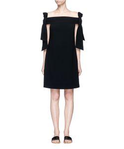 Tibi   Half Bow Tie Off-Shoulder Crepe Dress